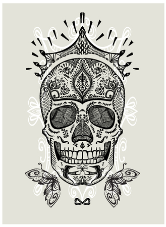 Hand drawn ornamental decorated skull, sugar skull with crown, vector illustration
