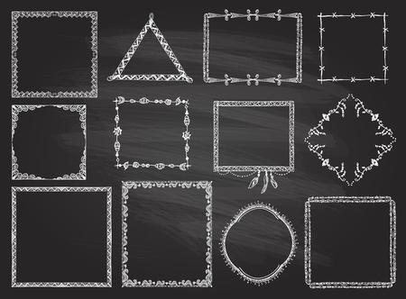 Fashion hand drawn frames set on a chalkboard, boho style, hippie, indie style Ilustracja