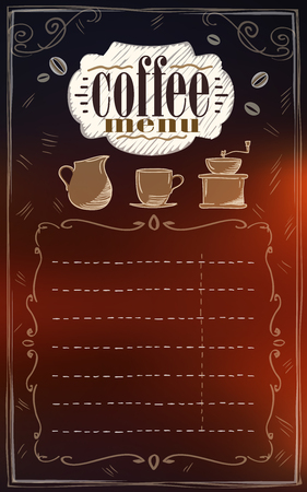 Coffee menu list with copy space for text