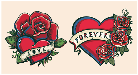 Old school hand drawn graphic illustration with hearts, roses and ribbons, tattoo style Illustration