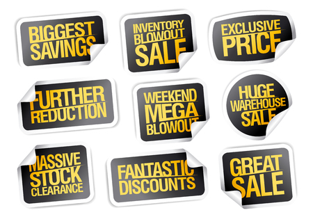 Sale stickers set - biggest savings, great sale, exclusive price etc.