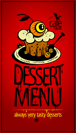 Halloween dessert menu card cover, scary muffin with eye illustration Illustration