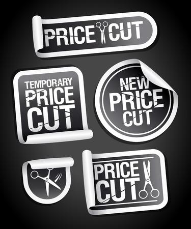 Price cut sale stickers set 向量圖像