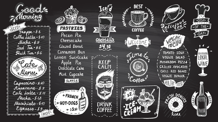 Cafe menu chalkboard design set, hand drawn line graphic illustration with pastries and drinks, vegan menu, coffee and tea symbols, ice cream and iced cocktails, hot dogs and donuts, wine and beer, etc.