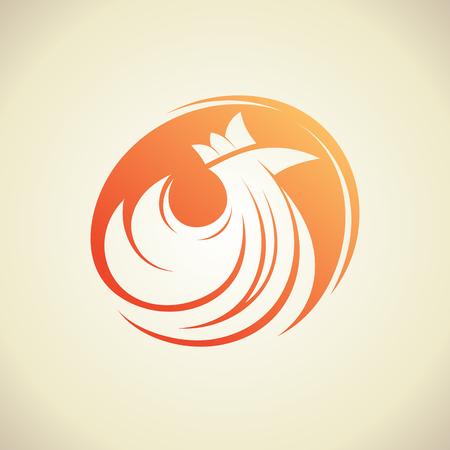 Hen silhouette in a circle, vector logo concept