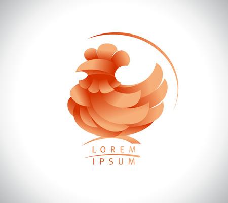Hen or rooster vector logo concept