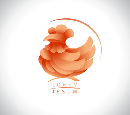 Hen or rooster vector logo concept Illustration