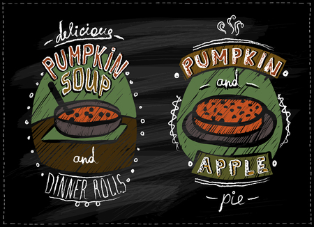 Chalkboard menu for halloween or thanksgiving with pumpkin dishes - pumpkin pie, apple pie and pumpkin soup Stock Illustratie