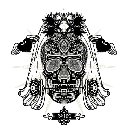 Hand drawn ornamental decorated bride skull, sugar skull with veil, t-shirt design concept, tattoo sketch, vector illustration