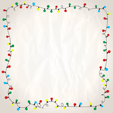 Simple frame with garland lights against paper background, hand drawn doodle illustration Vectores