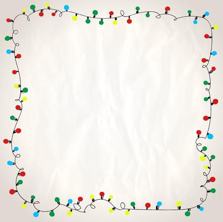 Eenvoudig frame met slingerlichten tegen document achtergrond, hand getrokken krabbelillustratie