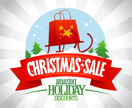 Christmas sale poster, amazing holiday discounts, vector illustration with snow globe and sleigh