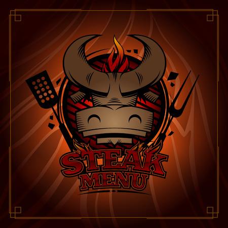Steak menu card design, cover with bull head