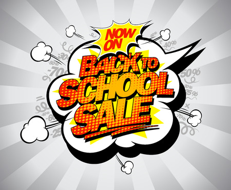 Back to school sale vector banner, comic style with speech bubble and puffs Illustration