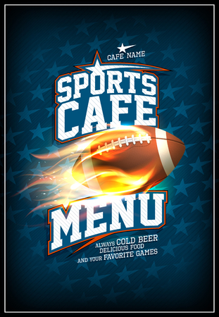 Sports cafe menu card design concept, classic leather rugby ball in a fiery flame, background with stars