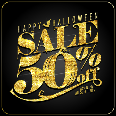 Halloween sale 50 percents off, vector poster with golden text