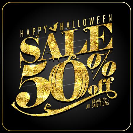 Venta de Halloween 50 por ciento de descuento, cartel de vector con texto dorado Ilustración de vector