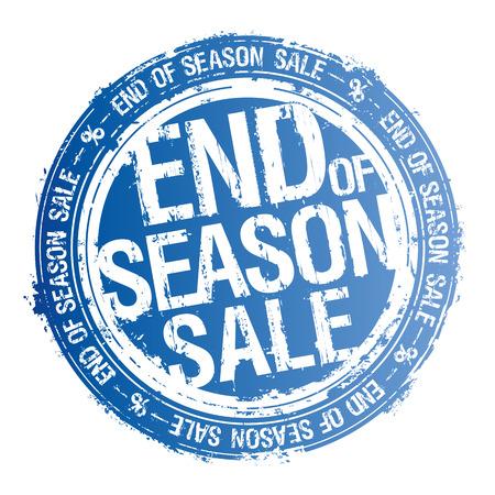 End of season sale rubber stamp, vector illustration. Çizim