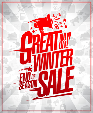 Great winter sale poster concept, end of season clearance Ilustrace