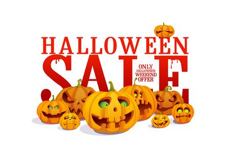 Bannière de vente Halloween avec foule de citrouilles Vecteurs