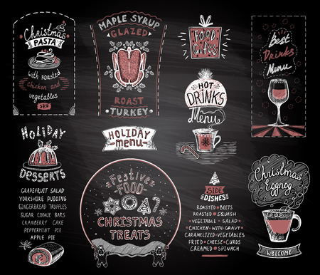 Holiday chalkboard menu set, christmas and new year classic dishes, desserts and drinks, festive food and treats, alcohol