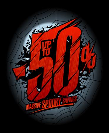 Concepto de diseño de banner de venta de Halloween, hasta 50% de descuento, ahorros espeluznantes masivos