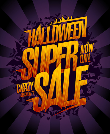 Halloween super sale vector poster, comic style