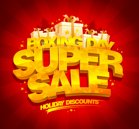Boxing day super sale poster design concept