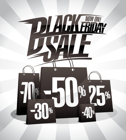 Black friday sale, vector poster with black paper bags and rays backdrop