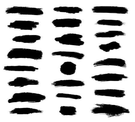 Dry brush, pen and marker abstract blot strokes set, hand drawn vector 向量圖像