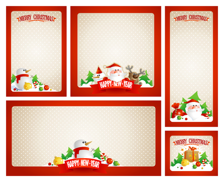 Christmas frames vector set with Santa, deer and snowman