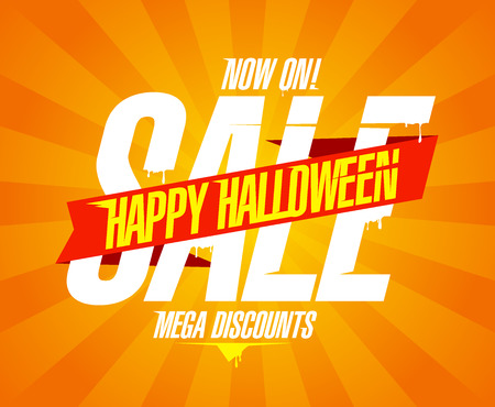 Happy halloween sale, web banner design concept