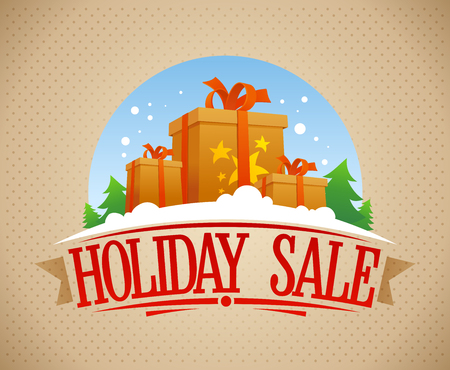 Holiday sale banner design with gift boxes, vintage style, vector illustration