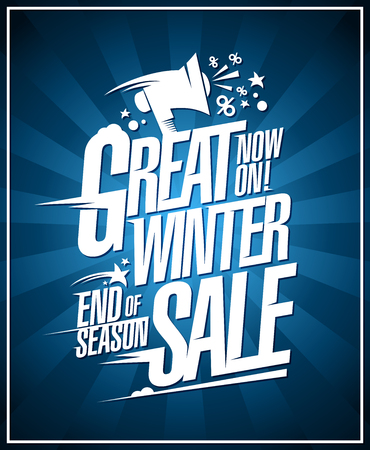 Great winter sale now on, end of season discounts, vector poster Illustration