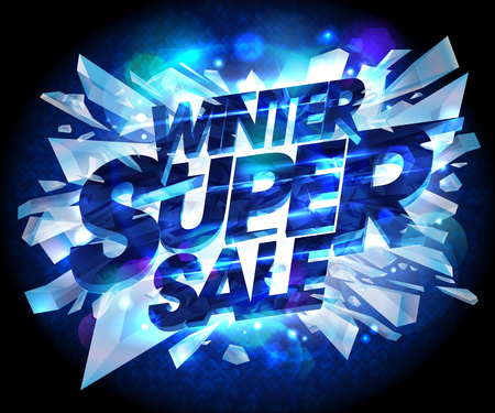 Winter super sale advertising vector poster with explosion pieces of ice Illustration