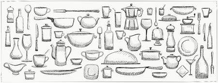 Grafische doodle set keukengerei en servies, handgetekende kunst lijn vectorillustratie