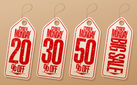 Syber monday sale labels set - 20% off, 30% off, 50% off, big sale