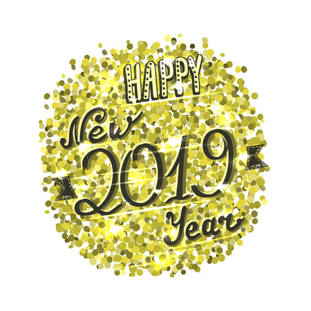 Happy new 2019 year card, golden sparkles and hand written lettering, vector illustration Illustration