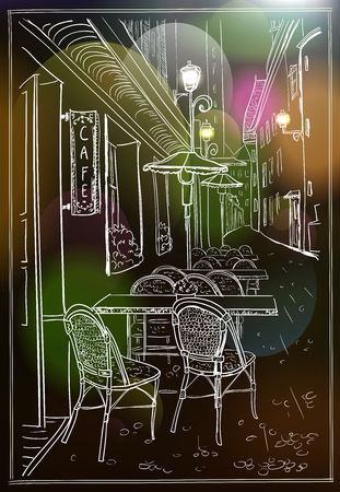 Street cafe in night old town, hand drawn illustration