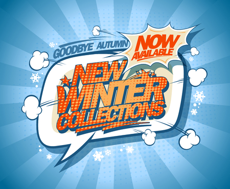 New winter collections now on, speech bubble vector fashion banner design