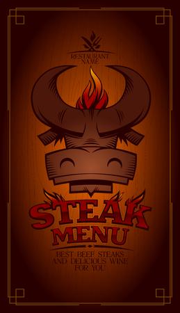 Steak menu card design, bull head logo, fire flames Stock Illustratie