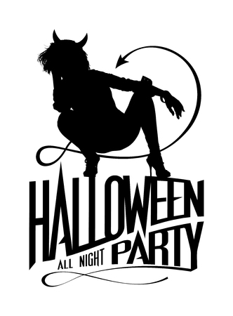 Halloween party logo symbol with devil woman silhouette