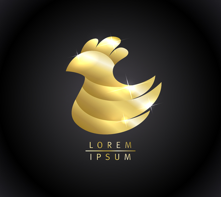 Golden hen logo design concept