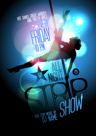 Strip show poster design with a slim stripper woman silhouette with pylon Ilustração