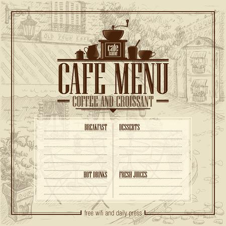 Lista menu kawiarni z rocznika graficzną ilustracją ulicznej kawiarni w starym stylu na tle. Skopiuj miejsce na tekst