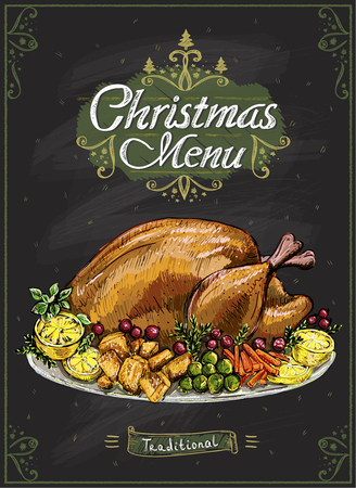 Christmas menu chalkboard poster with traditional holiday roasted turkey, hand drawn vector illustration Illustration