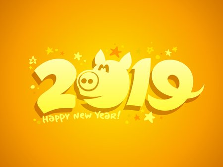 2019 year poster concept with yellow pig Stock Vector - 114077492