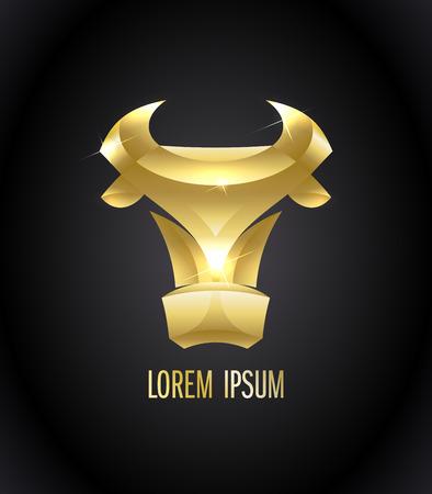 Golden cow logo design concept Ilustração