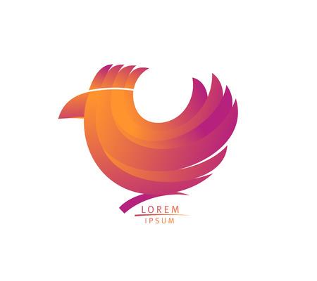 Hen or bird logo design concept, trade symbol with bird, branding identity
