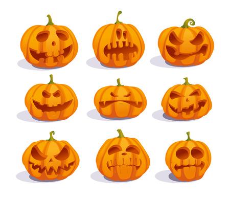 Zombie pumpkins, crazy pumpkin symbols set